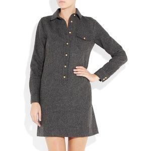 J. Crew Herringbone Wool Shirt Dress In Grey